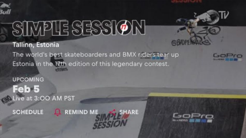 Watch Simple Session BMX Street and BMX Park Finals live on Sunday 5 Feb