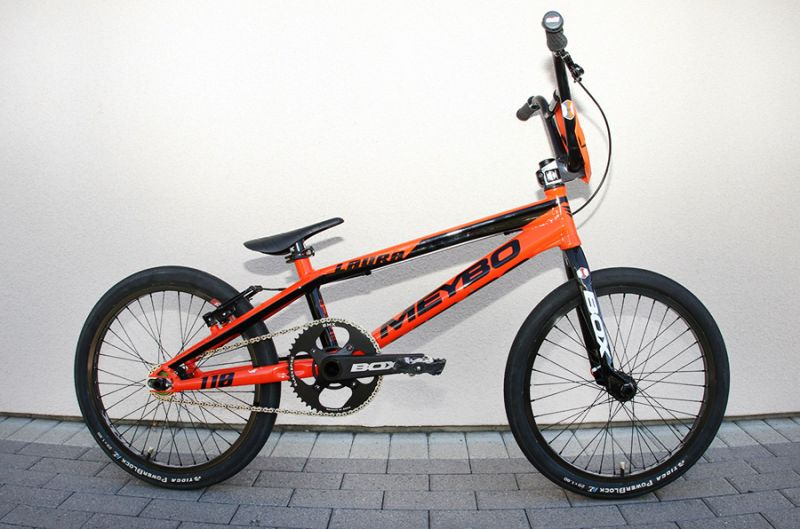 The orange Meybo with custom stickers.