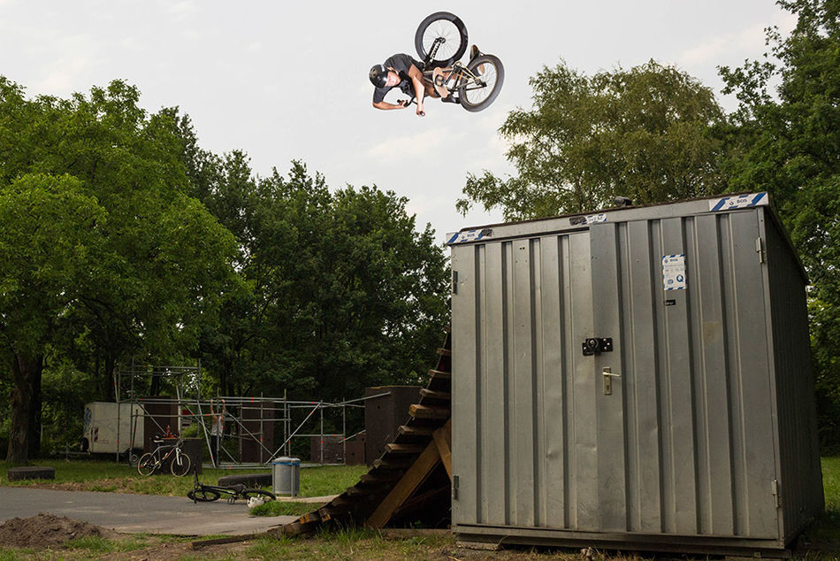 Christian Masur with a turndown that's Flybikes approved. Pic by Andy Muller.